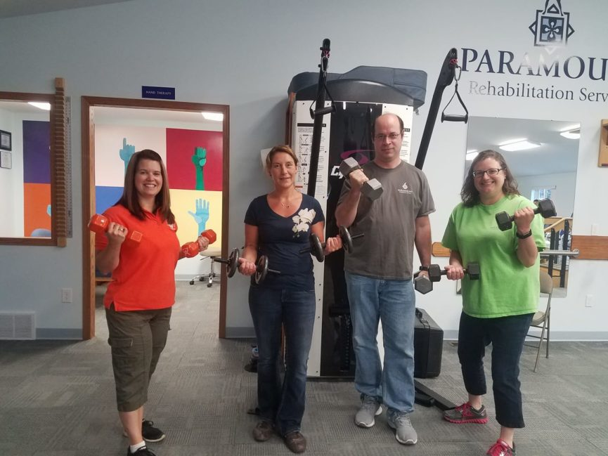 Staff with weights for Weight Loss Challenge